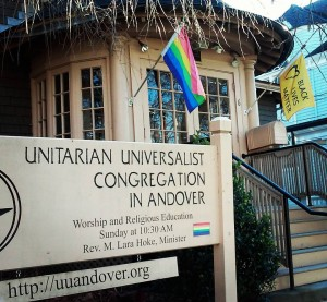 The UUCiA in 2015, displaying both a rainbow flag and a Black Lives Matter flag.